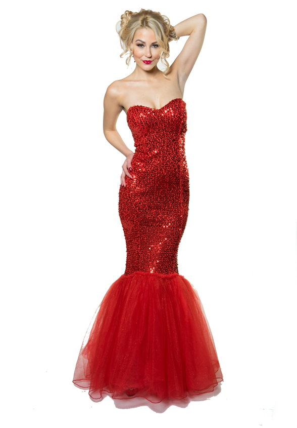 Attractive Delilah's Model in a long red dress.